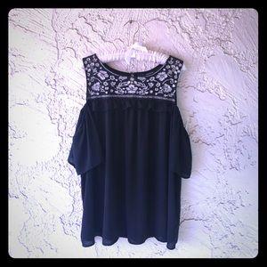 Black Torrid Embroidered Mesh Cold Shoulder Top